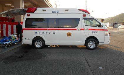 室戸市消防本部に寄贈した救急車。救命救急体制充実の一助となることを願っています